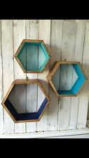 *3* HEXAGON SHELVES GEOMETRIC DISPLAY SCANDI HANDMADE WOODEN BATHROOM RETRO GIFT