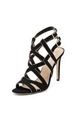 NEW DVF Diane von Furtensberg Valene Sandals Strappy Suede Black Gold Shoes