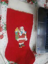 """Vintage Christmas Die Cut Vinyl Santa Red 17"""" Stocking"""