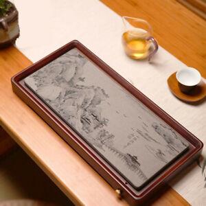 Luxury Kung Fu Gongfu Tea Tray Hard Bamboo Marble Chinese Painting Drainage Tray