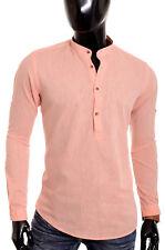 9345f9f28c Men s Casual Henley Shirt Grandad Cotton Linen Slim Fit Long Sleeve Vivid  Colour