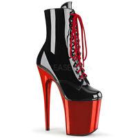 Pleaser FLAMINGO-1020 Women's Black Patent Red Chrome Heel Platform Lace-Up Boot