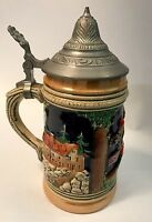 """Vintage German Small Beer Stein Hinged Pewter Lid Domestic Scene 6.5"""" Tall    5E"""