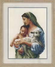 Stickpackung Stickbild Bild 20x27 cm Geborgenheit Frau Madonna Baby Schaf Kind