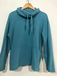 J. Jill Pure Jill Soft Touch Cotton Blue Sweatshirt Tunic Cowl Neck Pockets