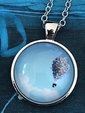 UP Movie Hot Air Balloon Glass Cabochon Dome Pendant Necklace. NEW