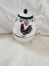 New Rooster Cracker Barrel Teapot & Cup Mug Tea for One Ceramic 2 Piece