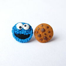 Funny Cookie Monster The Muppet Show Gifts For Kids Blue Small Earrings Jewelry