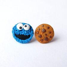 Funny Cookie Monster el Muppet Show regalos para niños azul pequeño pendientes de la joyería