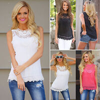 Women Summer Sleeveless Loose Chiffon Vest Casual Lace Tops Blouse T-shirt Solid