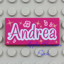 NEW Lego Friends ANDREA TILE - Magenta 2x4 Minifig Pink Sign w/Music Notes 3932