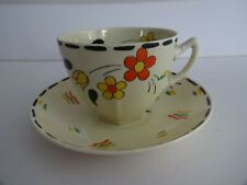 Vintage Art Deco Cup Saucer-orange/yellow/black-A.J. Wilkinson Honeyglaze