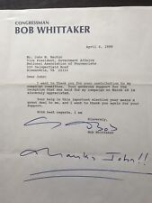 SIGNED TYPED letter from U.S. Rep. Bob Whittaker (KS) to John Rector (Lobbyist)