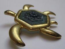broche rétro tortue en relief camée floral relief bijou vintage couleur or *3386