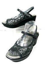 Naot Sandal 38 7-7.5  Pewter Leather Mary Jane Filigree Design Platform Wedge
