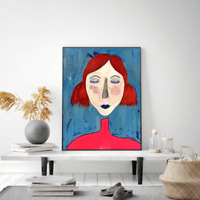 Original surrealism painting, portrait figurative 16X20 canvas contemporary art.