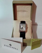 Judith Ripka SS Black Quilted Leather Tank Watch New in Original Box.