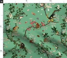 Monkey Chinoiserie Jungle Floral Tree Green Fabric Printed by Spoonflower Bty