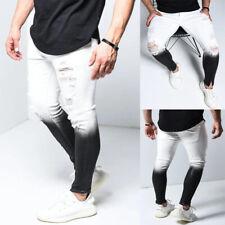 Men Casual Gradient Ripped Jeans Skinny Slim Fit Pants Black White Denim Trouser