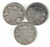 3 X CANADA 25 CENT QUARTERS VICTORIA 925 SILVER COINS 1870 1871 1872H