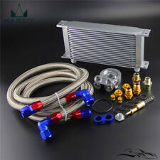 New 19 Row Engine Oil Cooler w/ 80 Deg Thermostat Plate + AN10 Oil Lines Kit