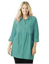 1X 16/18 NWT ULLA POPKEN  24HR BABY DOLL COTTON TUNIC TURQUOISE GORGEOUS $59