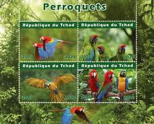 Chad Birds on Stamps 2020 CTO Parrots Macaws Fauna 4v M/S