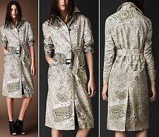 $3,195 Burberry Prorsum 6 8 40 London Map Print Silk Caban Coat Trench Women NWT