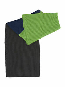 Linea Unisex Blue Green Grey Ribbed Block Colour Scarf RRP £28  Free UK Shipping