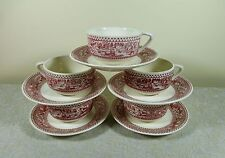 5 ROYAL USA MEMORY LANE PINK RED CUP AND SAUCER SET ACORN & OAK LEAVES IRONSTONE