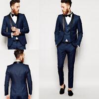 Navy Blue Slim Fit Men's Groom Tuxedos Groomsman Suit Bridegroom Wedding Suit