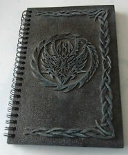 SPIRAL NOTEBOOK- DIARY- JOURNAL - BLACK HARDCOVER - DRAGON HEAD