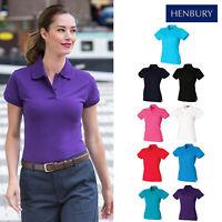 Henbury Women's Stretch Pique Polo Shirt H306-Ladies Short Sleeve Cotton T-Shirt