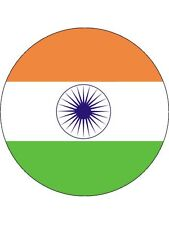 """Novelty India Flag 7.5"""" Edible Wafer Paper Cake Topper personalised Indian"""