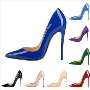 Sexy Pointy Toe 12cm High Heel Patent Leather 9 Colors Ladies Women Pumps Shoes