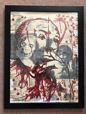 ALFRED HITCHCOCK-PSYCHO 'Bloody' Gilt-Framed Portrait Horror Original Art SIGNED