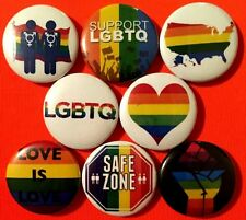 "LGBTQ 8 NEW 1"" buttons pins badge love is safe zone gay lesbian trans bi support"