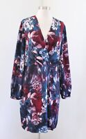 Adrianna Papell Teal Blue Abstract Long Sleeve Faux Wrap Dress Cocktail Size 14
