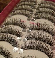 10Pairs New Makeup Beauty Handmade Natural Long False Eye Lashes Bushed Black AW