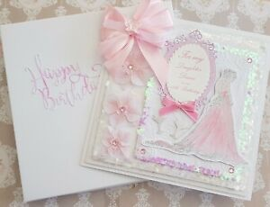 """Large Luxury """"8x8 Handmade Personalised 21st-18th-16th Girl birthday boxed card"""