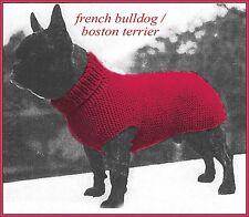 Dog coat knitting pattern, fits French Bulldog/Boston Terrier