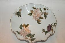 Fitz & Floyd White Cloisonne Peony 10' Fluted Bowl Gold Trim Japan