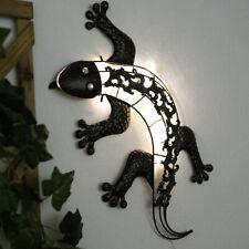 LED Solar Leuchte Gecko Echse Deko Wand Lampe Garten Außen Figur bronzefarben