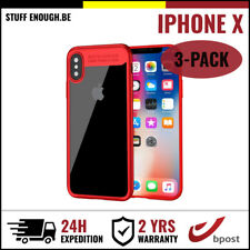 3IN1 Auto Focus Cover Cas Coque Etui Silicon TPU Hoesje Case For iPhone X Red