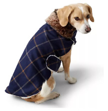 New Lands' End Dog Coat Size Small Plaid With Fur Collar And Fur Lined Inside