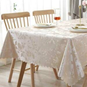 Rectangle Jacquard Tablecloth Dining Table Cloth Wedding Party Banquet Decor R