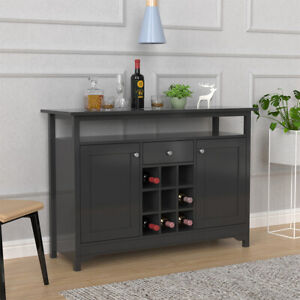 Farmhouse Kitchen Storage Cabinet Sideboard with 9 Wine Rack Buffet Cupboards
