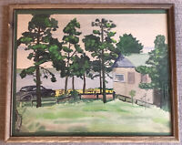 A. E. Lakes Signed_Modernist Watercolor_Lake/Trees_1952_Framed_ExC_SHIPS FREE