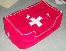 """Hunde Bett """"Schweiz"""", Größe L, rot, Stoff, neu!"""
