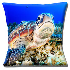 LARGE TURTLE UNDER WATER PHOTO PRINT CLOSE UP CORAL BLUE 16 Pillow Cushion Cover